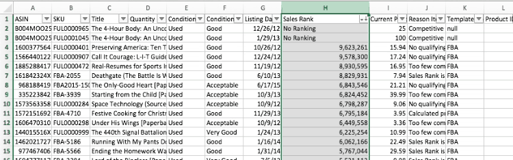 sort by sales rank in excel - Amazon FBA: How to do a Bulk Removal Order (Step-by-Step & Video)
