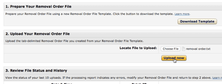 Upload removal order file