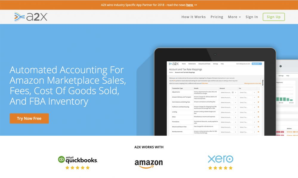 a2x for amazon fba and xero